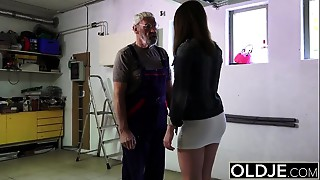 Grand-dad fucks young gal his miniature knob fucks her face gap and indecent cleft