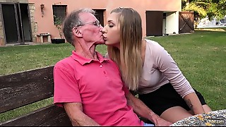 Golden-haired hot a-hole arse stab job drilled by lascivious grandpapa