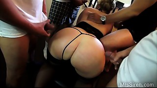 Wife Surrounded by Men Stroking