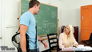 Breasty golden-haired teacher Summer Brielle receives facialized