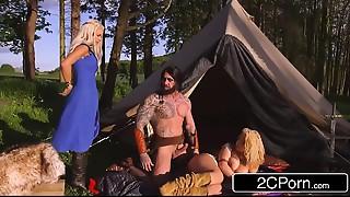 Game of Thrones XXX - Princess Peta Jensen &amp_ Her Handmaiden Aruba Jasmine Screwed