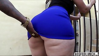 Chubby wazoo dark brown lady Virgo tries interracial anal invasion invasion
