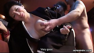 Sayuri getting her cunt handled in a wild three-some