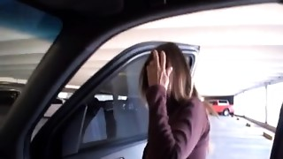 Cute Wifey Doing Tugjob For Stranger On The Backseat Of Husbands Car