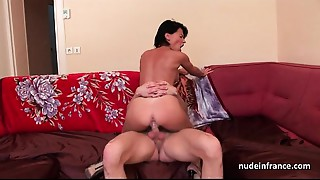 Precious titted dilettante french mommy hard sodomized with cum in throat for her casting