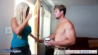 Concupiscent golden-haired Bridgette B. fucking her neighbour