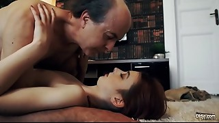 Virginal pleasant Teenie Swallows and Spits cum after Romantic Sex with Old man