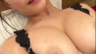 Yayoi Yanagida in a lacey brassiere plays with her large juggs for her bonk buddy driving