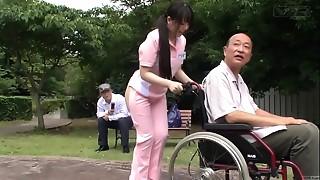 Subtitled extraordinary Japanese half naked caregiver outdoors