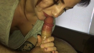 Ravishing young slut swallows load