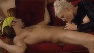 Hardcore short-haired blondie acquires it in her constricted gazoo