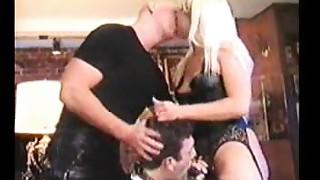 Femdom Sodomizes Sissy doggystyle with Boyfriend
