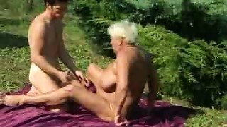 Old bitch bonks outdoors