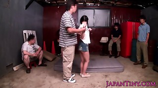 Small Japanese sweetheart squirts all over self when her love button is st