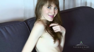 Vasilisa fingers her bushy bawdy cleft