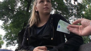 Natural blond Czech gal is picked up for public sex