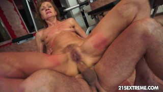 Grandma rides on a biggest youthful cock.
