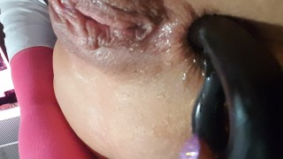 Close up Toy DP with Ace fuck Beads & Slit Squirt