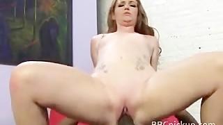White sweetheart rides ebony weenie and sucks on it likewise