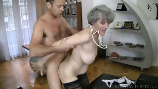 Horny grannies are gangbanged in their anus