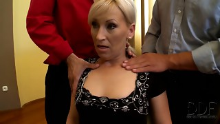 Cougar poker player lets concupiscent guys squeeze her scoops