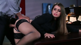 Perverted boss copulates bootyful and juggy secretary on the table