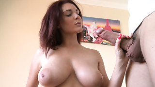Buxom breathtaking redhead Cougar gives precious titfuck and oral stimulation to chubby jock
