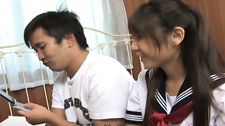Shy Oriental student angel Momo Aizawa gives double cook jerking
