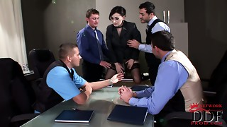 Bigtitted dark brown boss seduces her male employees for a screw