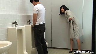 Avid Oriental hottie Uta Kohaku urinates on knob of one stranger man in a public crap-house
