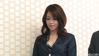 Slender Japanese boss in nylons masturbates in front of her colleagues