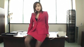 Japanese office playgirl Rena Kouzaki masturbating on her desk