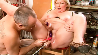 Bad wazoo grandmother Margarethe is getting drilled with sex machine