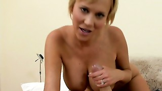 Fab slut Carly Parker gives oral job and then rides polished pole