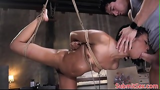 Suspended sadomasochism sub anal invasion and snatch screwed