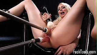 Blond widens legs for vagina and anal-copulation toying