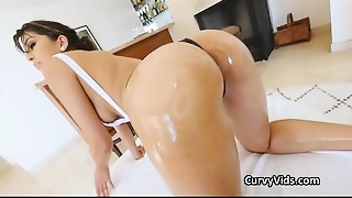 Oiled Lalin girl butt pounded doggystyle
