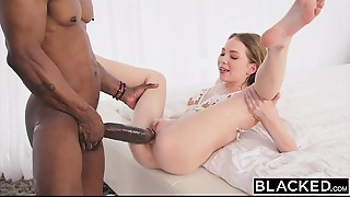BLACKED Diminutive golden-haired with the massive BBC in the world