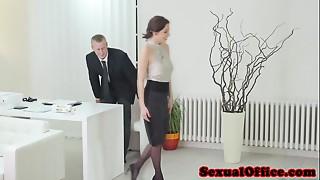 Antonia Sainz engulfing penis in the office