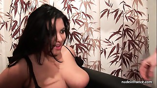 Casting youthful BBW in fishnet nylons hard group-fucked fisted and jizzed on titties