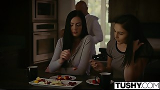 TUSHY Ariana Marie And Marley Brinx First Butt stab Three-some