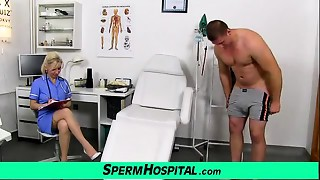 Stocking legs milf doctor Maya wanking dick untill cum on marangos