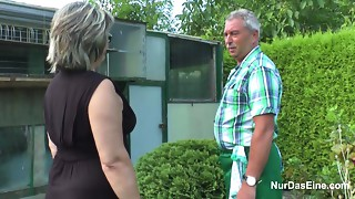 German Older man and Grandma bonk Hard in Garden