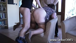 French aged Julia team-fucked in nylons