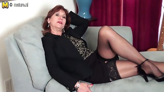 American old Mama undresses 1st and plays with her toy