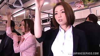Excited Asian model receives hard penis in public