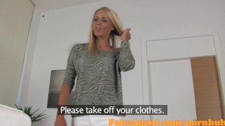 FakeAgent Golden-haired student receives moist Creampie in Casting interview