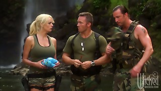 2 soldiers gangbang hawt MILF Stormy Daniels in the tent