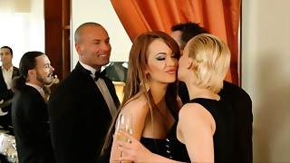 Golden-haired and brunet chicks are having ribald foursome sex