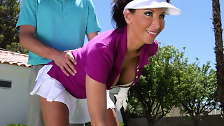 Hawt darksome haired Cougar Lezley Zen gives a head to her guy outdoors